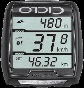 Produktbild des CicloSport CM 4.41 A HR. Auf dem Display werden die Höhenmeter, die Geschwindigkeit und die Strecke angezeigt.
