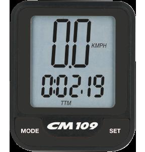 Produktbild des CicloSport CM 109. Das Display zeigt die aktuelle Geschwindigkeit und die Streckenzeit an