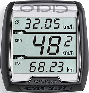 Produktbild des CicloSport CM 2.11. Das Display zeigt zurückgelegte Kilometer und die Geschwindigkeit an