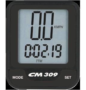 Produktbild des CicloSport CM 309. Das Display zeigt die aktuelle Geschwindigkeit und die Streckenzeit an
