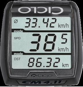 Produktbild des CicloSport CM 4.11. Das Display zeigt die Geschwindigkeit und zurückgelegten Kilometer