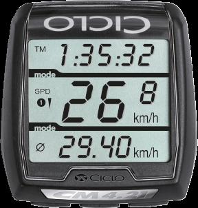 Produktbild des CicloSport CM 4.21. Das Display zeigt eine Übersicht der Funktionen