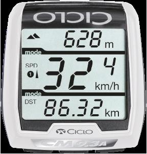 Produktbild des CicloSport CM 9.3A+. Das Display zeigt eine Übersicht über alle Daten und Funktionen