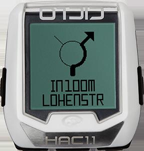 Produktbild des CicloSport HAC 1.2, HAC 1.2+. Das Display zeigt einen Navigationspfeil im Kreisverkehr