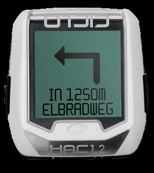 Produktbild des CicloSport HAC 1.2, HAC 1.2+. Das Display zeigt einen Navigationspfeil nach links