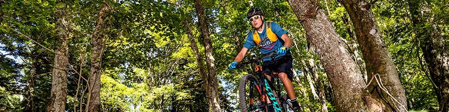 Ein Mann lässt sich vom Navic 400 durch einen Wald navigieren. Er trägt einen Helm, eine Brille und einen Rucksack