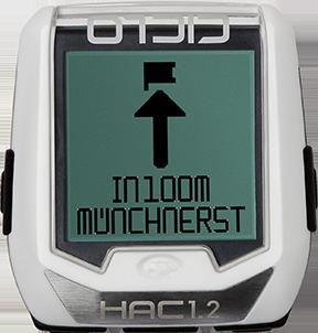 Produktbild des CicloSport HAC 1.2. Das Display zeigt einen Navigationspfeil zum Ziel