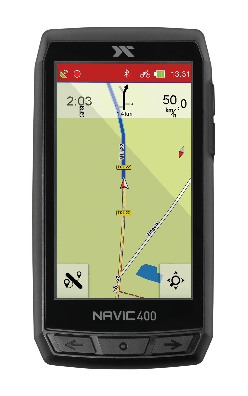 Screenshot des CicloSport Navic 400 während der Outdoor-Navigation auf einer Landstrasse