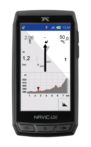 Screenshot des CicloSport Navic 400 während der Turn by Turn-Navigation
